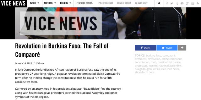 Revolution in Burkina Faso- The Fall of Compaore